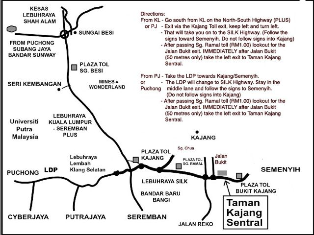 Map from KL & PJ to ACS Eye Specialists Centre